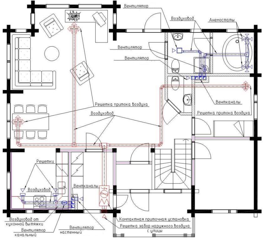 Поэтажная схема вентиляции