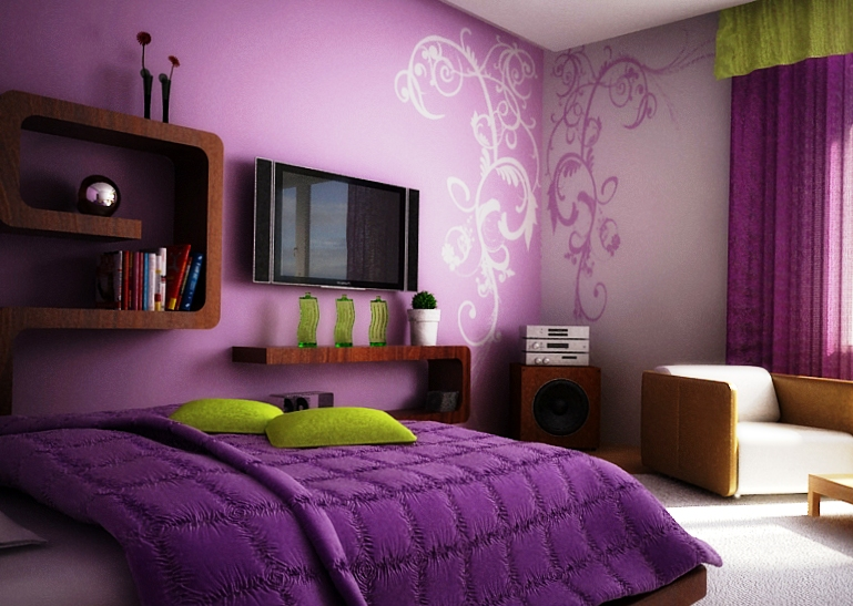 Сиреневые обои в интерьере спальни и их комбинирование фото